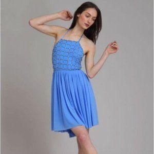 Alice + Olivia Sky Blue Tutu Halter Silk Dress NWT
